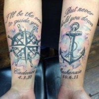 Nautical themed simple memorial tattoo with lettering, anchor and compass on arms