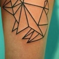 Neat dark black ink origami rabbit original idea tattoo