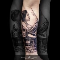 Neo japanese style black and white forearm tattoo of geisha with house