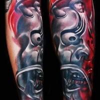 Neujapanischstil farbiger Unterarm Tattoo der dämonischen Maske
