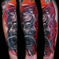 Neo japanese style colored arm tattoo of demon mask