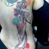 Neo japanischer Stil gefärbtes  Tattoo Rücken von Frau mit Blumen und Kreise