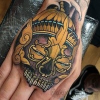 Neo japanese style colored hand tattoo of demonic mask