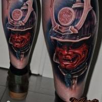 Neo japanese style colored leg tattoo of samurai warrior helmet