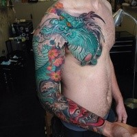 Neo japanese style colored sleeve and chest tattoo of big dragon with demons mask