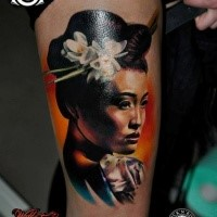 Neo japanese style colored tattoo of Geisha woman with flowers