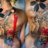 Neo japanese style colored whole back tattoo of beautiful flowers and tree