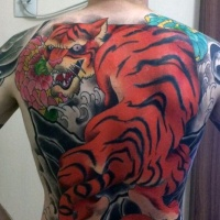 c43211c05 Neo japanese style colored whole back tattoo of big tiger and flower