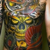Neo japanese style colorful whole chest tattoo of mystical skull and dragon