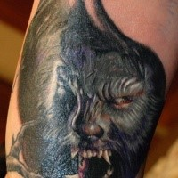 Neo traditional colored werewolf tattoo on arm