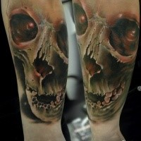 Neo traditional style colored arm tattoo of mystical skull