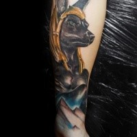 Neo traditional style colored arm tattoo of Anubis God with pyramids