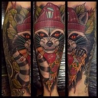 Neo traditional style colored arm tattoo of evil raccoon with pizza slice