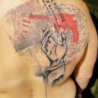 Neo traditional style colored back tattoo of human hand with paper