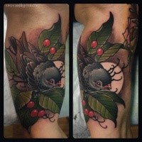 Neo traditional style colored biceps tattoo of little bird with berries