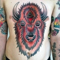 Neo traditional style colored chest and belly tattoo of demonic bull with mystic eye
