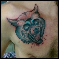 Neo traditional style colored chest tattoo of bloody demonic dog