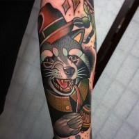 Neo traditional style colored forearm tattoo of raccoon with smoking pipe