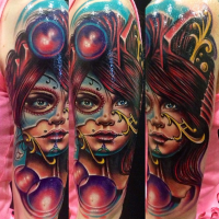 Neo traditional style colored shoulder tattoo of fantasy woman with mask