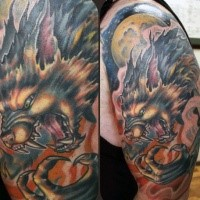 Neo traditional style colored shoulder tattoo of evil werewolf with big moon
