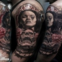 Neo traditional style colored shoulder tattoo of crying woman with skull, crow and roses