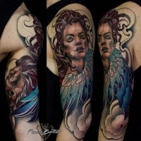Neo traditional style colored shoulder tattoo of angel woman and wings