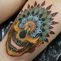 Neo traditional style colored tattoo of human skull part with flowers
