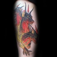 Neo traditional style colored tattoo of Cerberus with flames