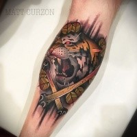 Neo traditional style colored tattoo of tiger with crossed bones