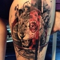Neo traditional style colored thigh tattoo of demonic lion with ornaments