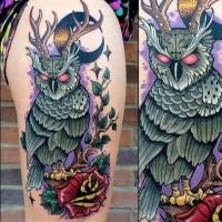Neo traditional style colored thigh tattoo of demonic owl and rose