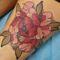 neo traditional style colored thigh tattoo of beautiful flower