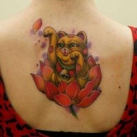 Neo traditional style colored upper back tattoo of cute cat with flower
