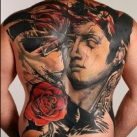 Neo traditional style colored whole back tattoo of big statue and rose