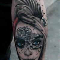 New school santa muerte girl with blue eyes forearm tattoo