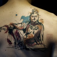 New style buddha tattoo on back for men