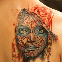 New school  day of the dead tattoo for women