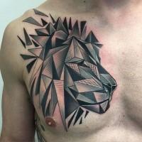New school geometrical style chest tattoo of lion head