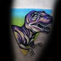 New school illustrative style dinosaur tattoo on leg
