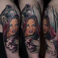 New school illustrative style shoulder tattoo of Red Riding Hood and wolves