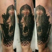 New school mystical forearm tattoo of detailed animal skull with interesting ornaments