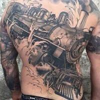 New school style black and white whole back tattoo of train with clouds of steam