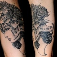 New school style black ink forearm tattoo of woman in great helmet