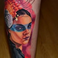 New school style colored arm tattoo fo beautiful tribal woman with big flower