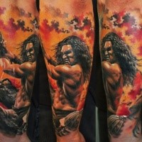 New school style colored arm tattoo of evil Tarzan
