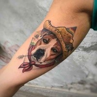New school style colored arm tattoo of sad dog in hat