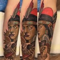 Neuschulstil farbiger Unterarm Tattoo der unheimlichen Indianischen Frau mit Schädel und Feder