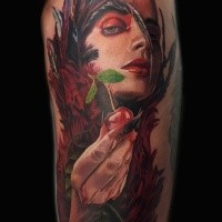 New school style colored arm tattoo of natural woman with cherry