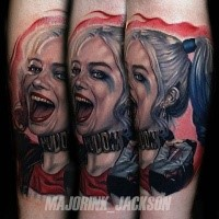 New school style colored arm tattoo of crazy woman from movie