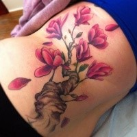 New school style colored back tattoo of blooming tree branch